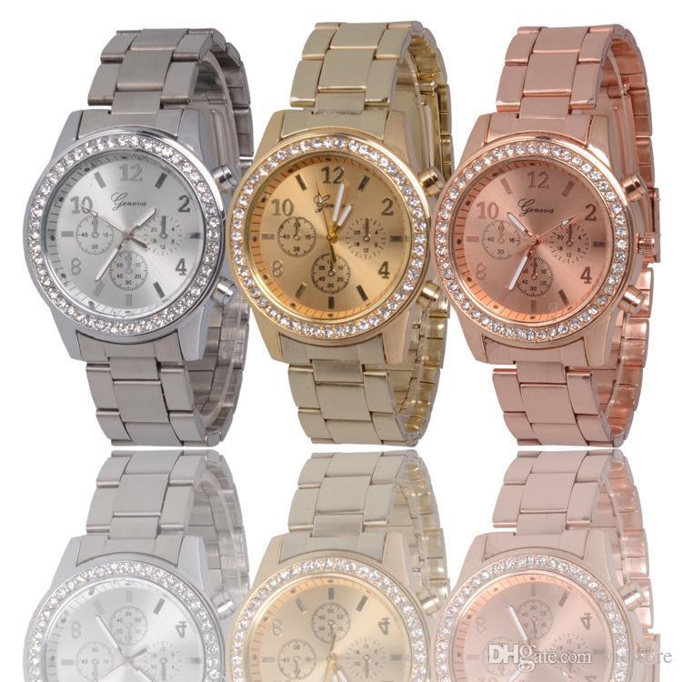 055e8f8db416 Compre Geneva Luxury Diamond Creado Reloj De Acero Inoxidable Para Hombres  Fashion Designer Brand Casual Relojes De Cuarzo Baratos Gold Rose Gold  Silver ...