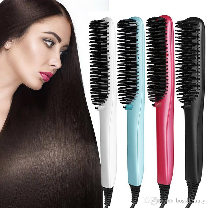 Горячая продажа электронных maigc выпрямитель для волос гребень электрический прямые волосы расческой выпрямитель утюг щетка с ЖК