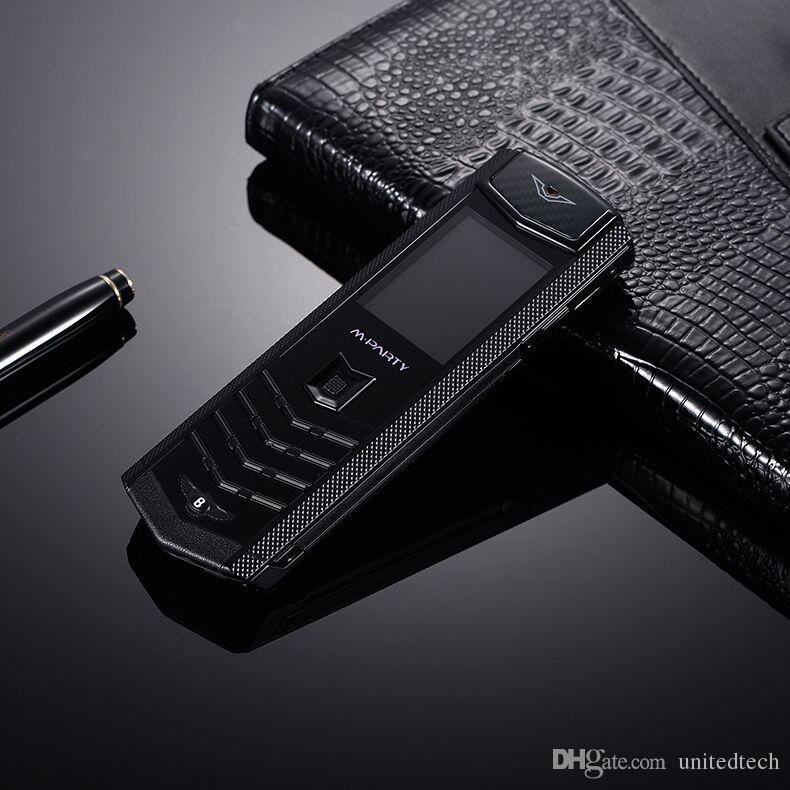 Original Brand MPARTY LT2 Luxury Gold Metal Corpo in pelle Custodia cellulare Dual Sim Cellulari Bluetooth FM fotocamera Mp3 cellulare