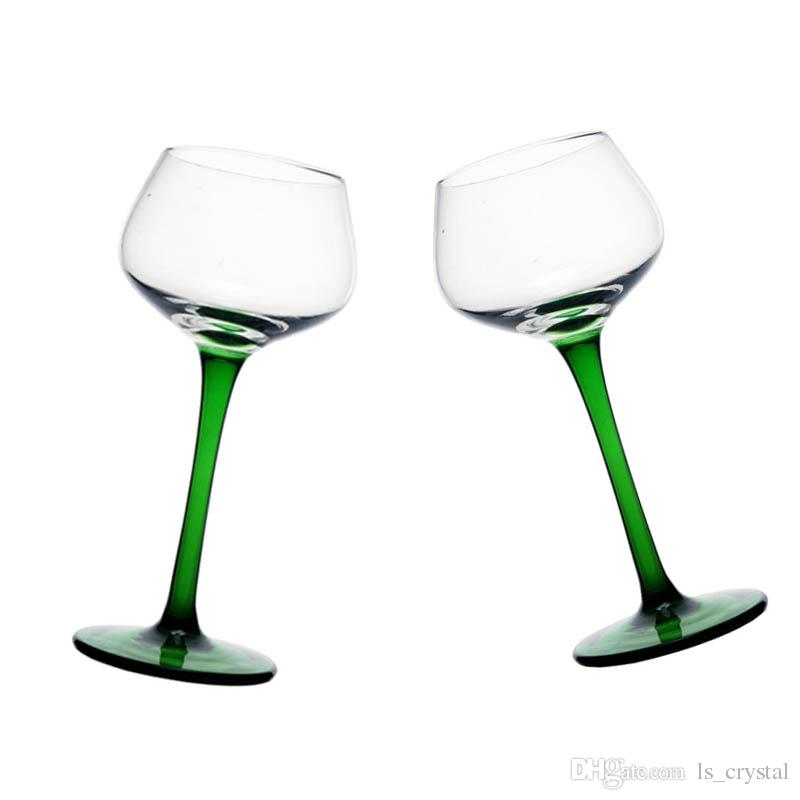 160 ml 5 OZ Clear Glass with Green Stem and Base Wine Glass Cocktail Goblet Novelty Gift DEC351