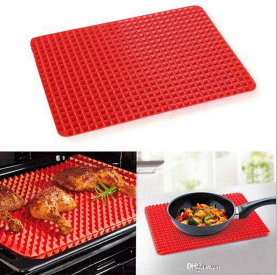 Yapışmaz Piramit Bakeware Pan 40.5 * 29 cm Silikon Pişirme Pişirme Mat Mikrodalga Fırın BARBEKÜ Tepsi Araçları Mutfak Aksesuarları OOA4714