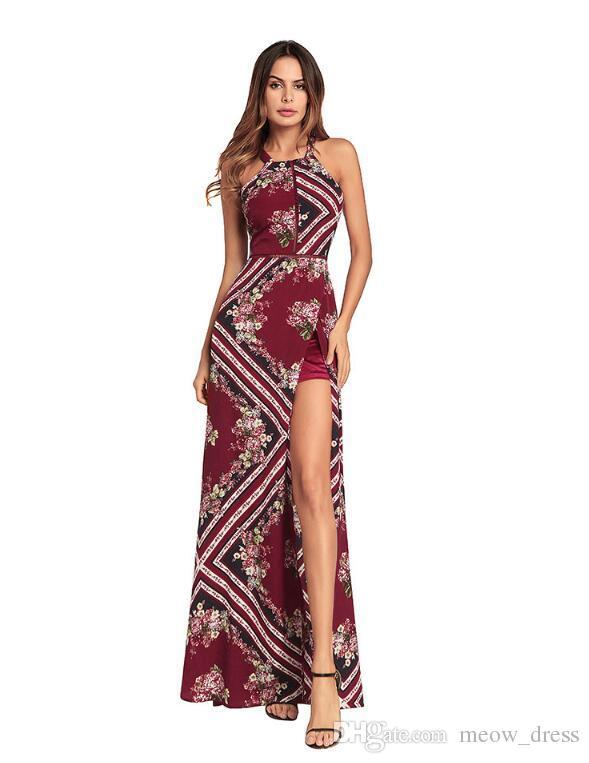 Meow Elegant split joint tassel maxi dress Women evening party summer dress 2017 sexy backless long dress