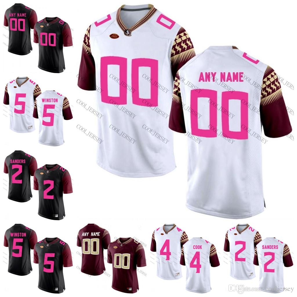 size 40 45dd1 fcf3a Custom NCAA Florida State Seminoles 2018 Mother Days Pink College Football  Jerseys Personalized any name number Francois Akers Cooks Jerseys