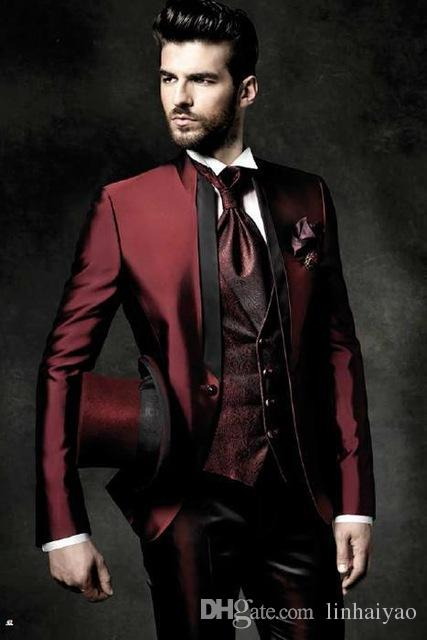 2017 High Quality One Button Dark Red Groom Tuxedos Groomsmen Mens Wedding Suits Prom Bridegroom (Jacket+Pants+Vest+Tie)