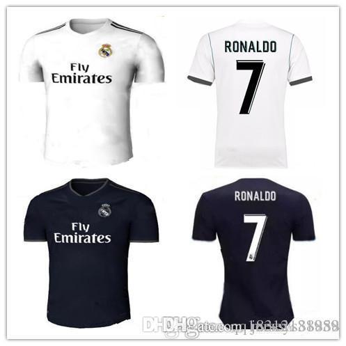 Real Madrid Soccer Jersey 2018 2019 RONALDO New Home White Away ... 180e91a5d
