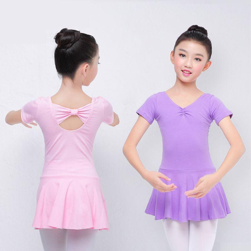 908e265a90b0 Cotton Kid Gymnastic Leotards Butterfly Tie Kid Ballet Girls Tutu ...