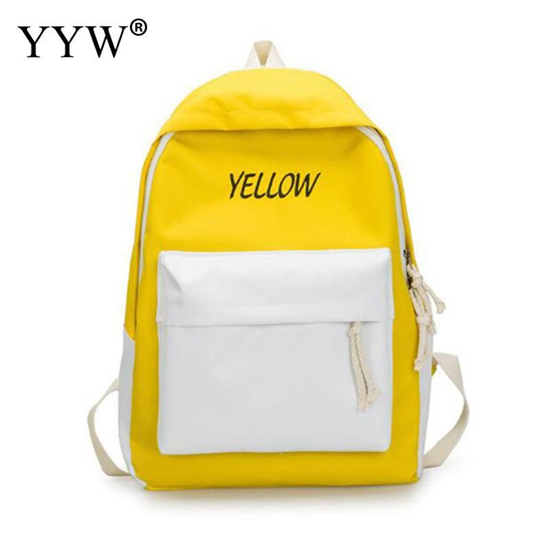 391c2c7e9040 Canvas Backpack Women Casual Letter Large School Bag For Teenage Girl  Bookbags Rucksack Casual Yellow White Pink Bagback