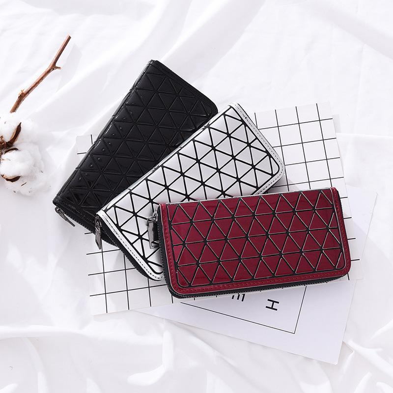 New Clutch Bags Women PU Geometric Lingge Leather Wallet Multi-Color Optional Ladies Bag Simple Fashion Hand Bag Purse Women Wallet