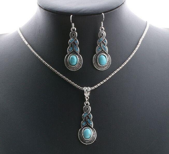 ZOSHI 2017 New Bohemia Fashion Jewelry Set Simulated blue stone Necklace Earring Sets for Women Wholesale Summer Jewelry Sets