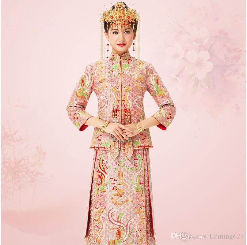 804841fe9f2e Acquista Hiqh Qualità Dragon Phoenix Cinese Sposa Cheongsam Guangdong  Canton Yue Ricamo Fashion Party Dress Abiti Cina Tradizionale Matrimonio A   223.12 Dal ...
