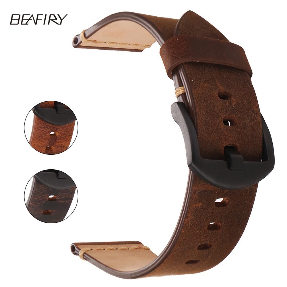 ea5665804c7 BEAFIRY Genuine Leather Watch Band 24mm Dark Brown Light Brown Matte ...