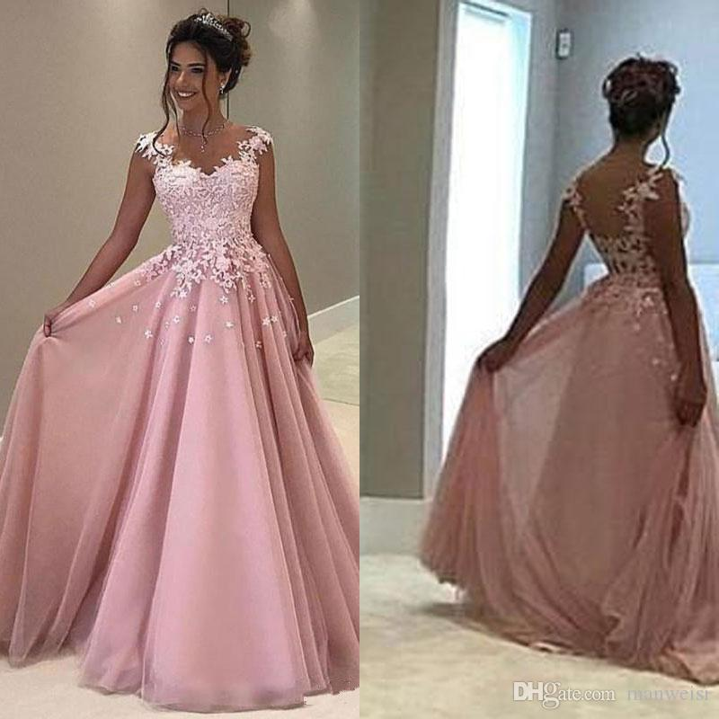 Cheap Pink Tulle Prom Dresses Long Lace Appliqued Plus Size Formal ...