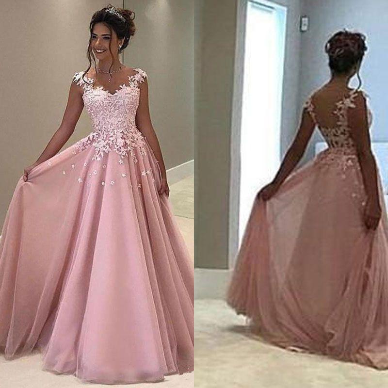 d57df041043 Großhandel Günstige Rosa Tüll Prom Kleider Lange Spitze Appliqued Plus Size  Abendkleid Sexy V Ausschnitt Partykleid Von Manweisi