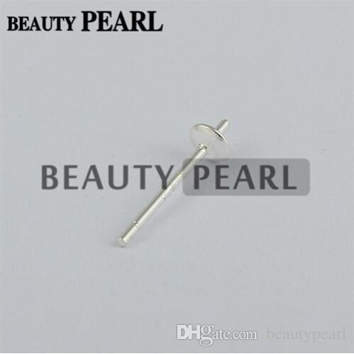 Wholesale 925 Sterling Silver Pearl DIY Stud Earring Mounting Post Pin with Cup Cap 3mm or 4mm