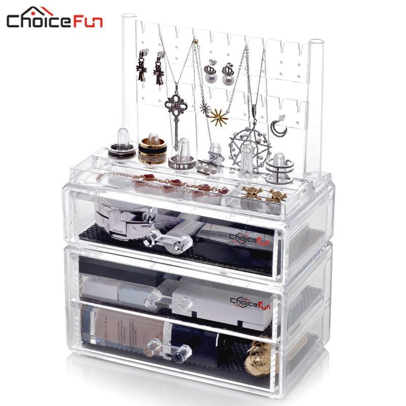 cbef38fac568 CHOICEFUN 3 Drawers Clear Acrylic Necklace Ring Earring Jewelery Holder  Girl Storage Organizer Jewelry Jewelery Box For Women