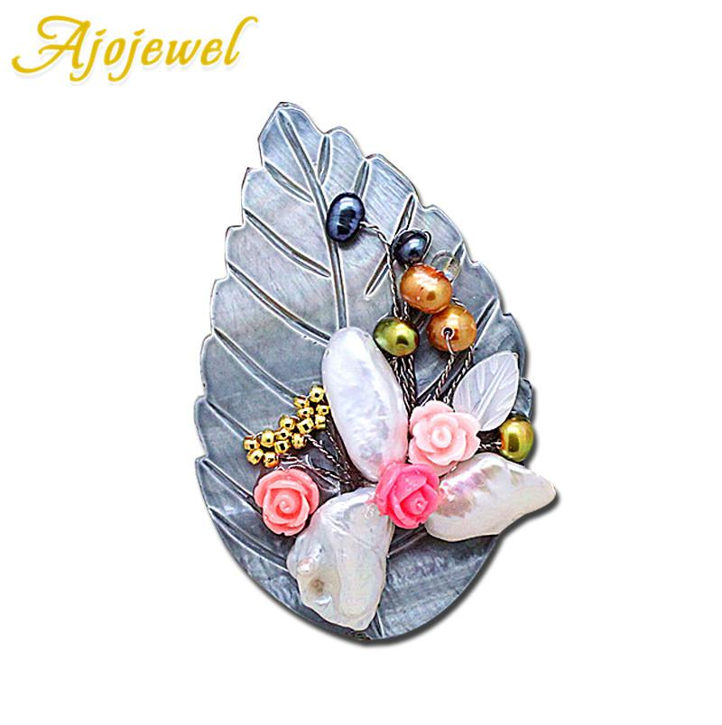 wholesale Superiore Jewelry Natural Shell Freshwater Pearl Beautiful Flower Leaf Pendant Brooch Pin Colorful Cameo Vintage Bijoux