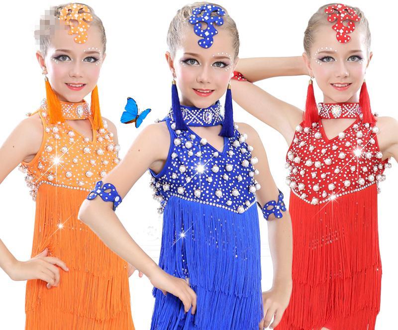 c0009c2e74 Compre Meninas Pérola Tassel Lantejoulas Dança Latina Competição Vestido  Crianças Salão De Baile Salsa Tango Fringe TrajesDress Roupas Dancewear De  Xiayuhe
