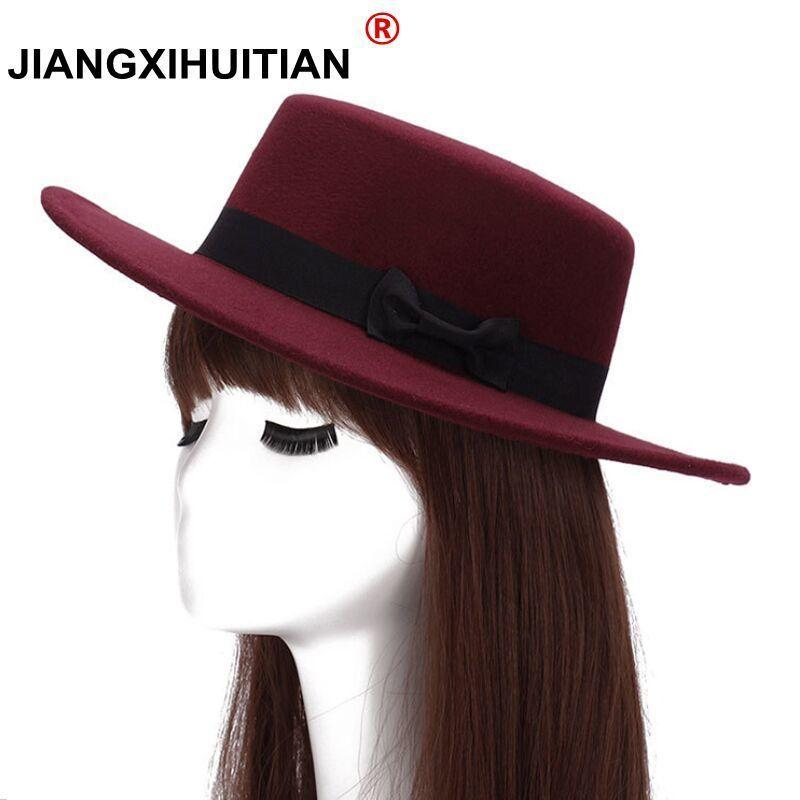Brand New Wool Boater Flat Top Hat For Women s Felt Wide Brim Fedora ... df82399a05d8