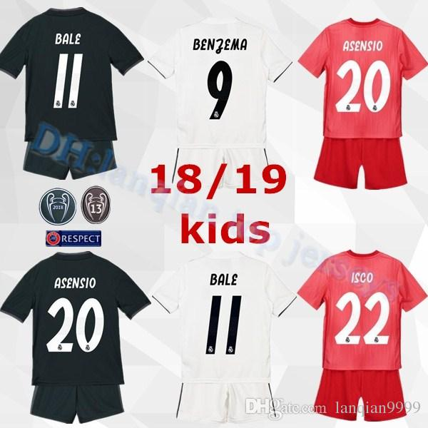 a71116b71 Großhandel 2019 Kinder Kit Real Madrid Fußball Trikot 2018 19 Weißes  Heimtrikot Fußballtrikot ISCO ASENSIO BALE KROOS 3. Rot Fußball Kinderkind  Von ...