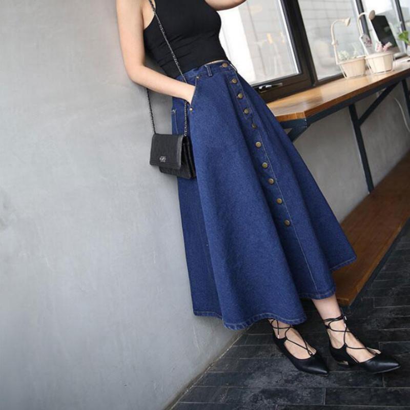 8e31c83b401 2019 Jeans Skirt High Waist Women Button Down Pleated Denim Skirts ...