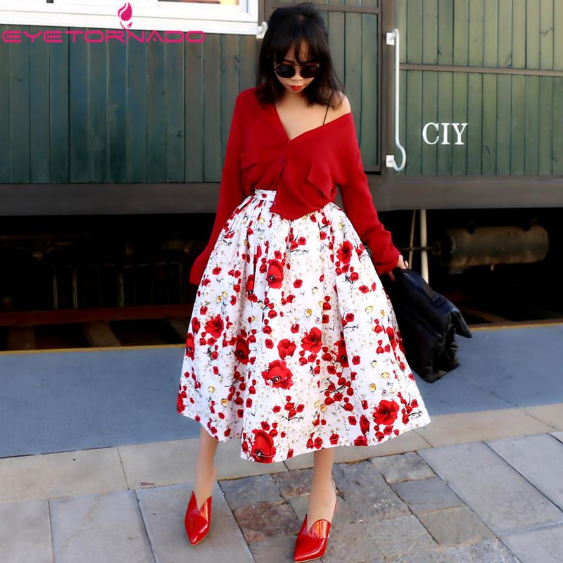 reputable site 7afe7 59363 Gonna donna autunno fiore stampa vintage 50-60s vita alta harajuku ball  gown tulle stile giapponese altalena midi gonne