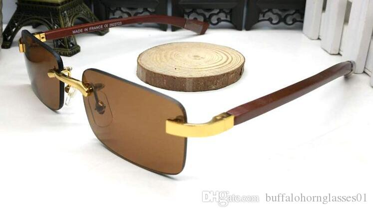 Free Shipping Buffalo horn glasses Sunglasses Rimless Wood Sunglasses designer Rimless Carved Wood Sunglasses Unisex designer