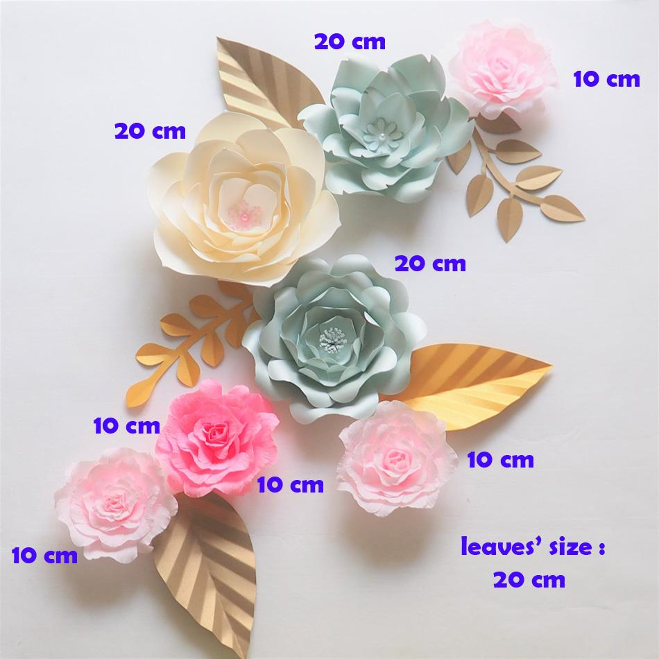 Giant Paper Flowers Backdrop Artificial Handmade Crepe Paper Rose 5
