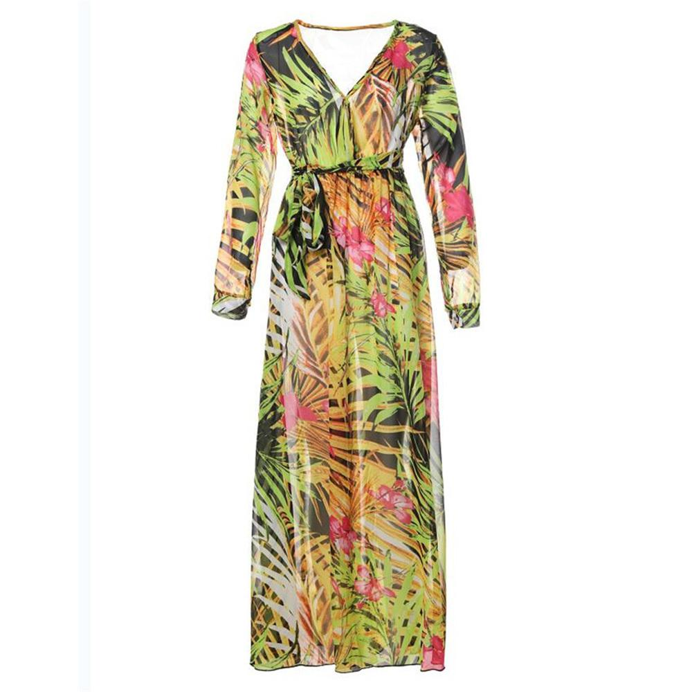 4f267bdc5d1 2019 New Women Maxi Boho Tropical V Neck Lace Up Yellow Print Plus Size  Summer Beach Casual Holiday Long Dress Black And White Dresses Formal Dress  From ...