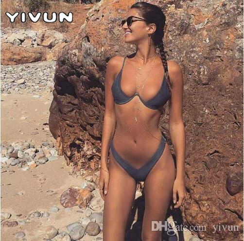 9ef2164bc44 2019 2018 New High Cut Thong Bathing Suit High Waist Swimsuit Solid Low  Waist Brazilian Biquini Swim Beach Micro Bikini Set Push Up Swimwear From  Yivun, ...