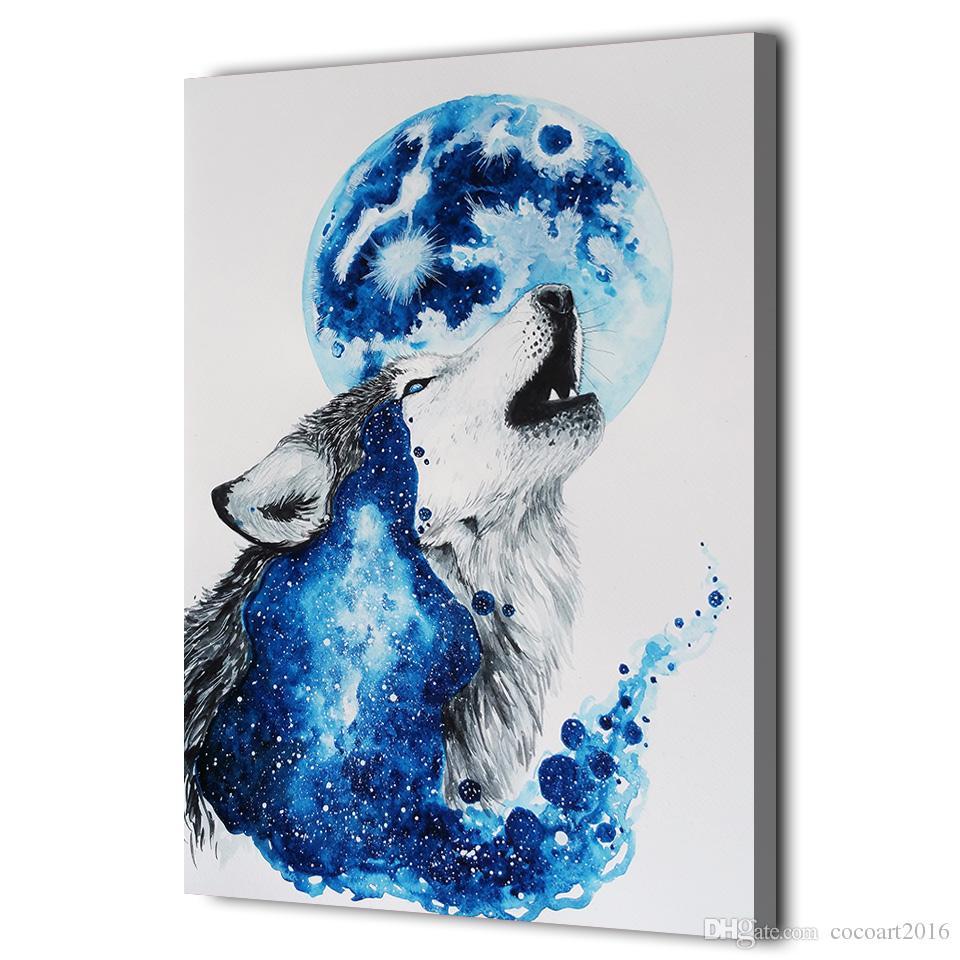 HD Imprimé 1 Pièce Toile Art Abstrait Blue Wolf Peinture Encadrée Modulaire Mur Photos pour Salon Livraison Gratuite NY-7063D