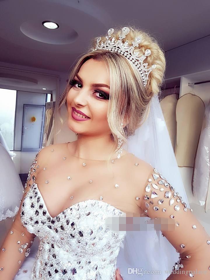 2018 Date manches longues robe de bal robe de mariée cristaux Cristaux lacent Retour Tulle robes de mariée princesse Plus la taille robes de mariée mariée