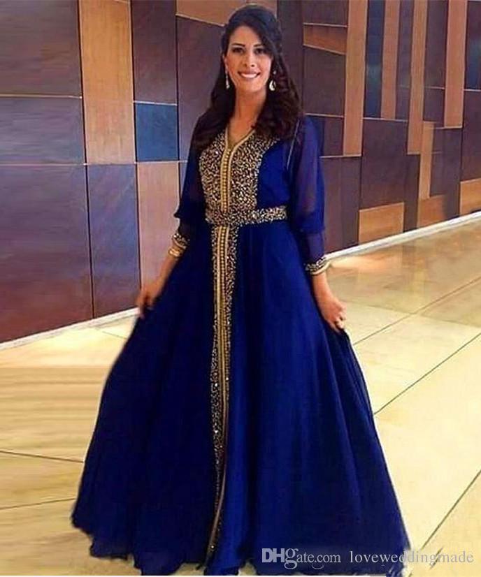 edcfa3541fd Acheter 2018 Robes De Soirée Caftan En Perles D or De Dubaï Avec Manches  Longues En Mousseline De Soie Une Robe De Ligne Robes De Fête Des Mères De  La ...