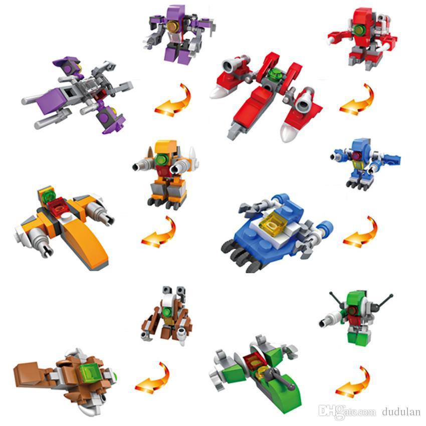 Hsanhe Mini Blocks display box Series robot and plane 2 changes 6 in 1 Children educational Building Brick #6013
