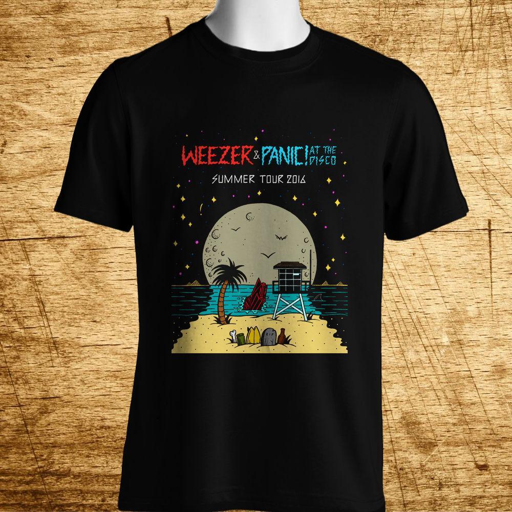 8ab0cf3fe New WEEZER PANIC! AT THE DISCO TOUR Logo Men's Black T-Shirt Size S ...