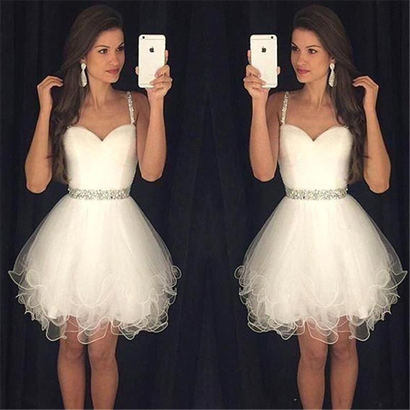 2018 Branco Spaghetti Tulle Mini Vestidos de Baile Ruffles Frisado Pedras Curtas Vestidos de Baile Plus Size Vestidos BA3623