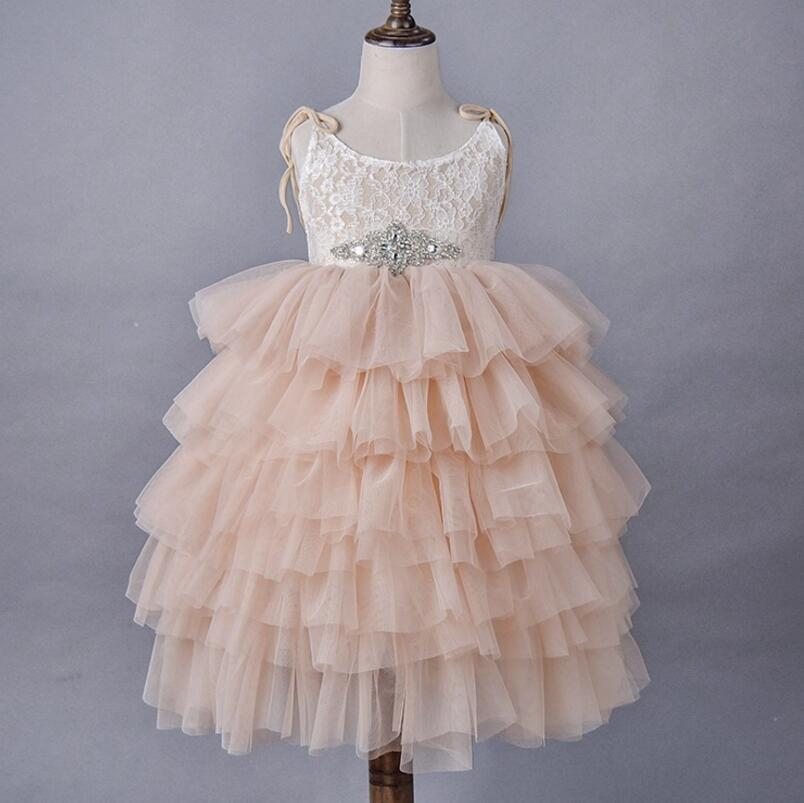 Girls lace princess dress 2018 summer kids lace rhinestones belt suspender tiere tulle tutu dresss children long length party dress A00380