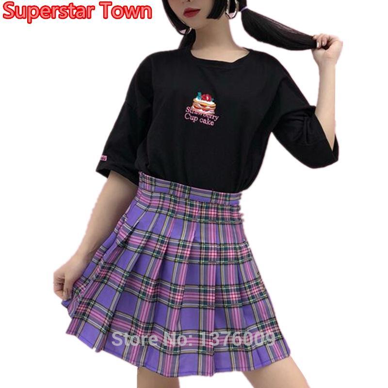 Acheter NOUVELLE Jupe Plissée À Carreaux Violet Femmes Kawaii Harajuku Mini  Japon Uniforme Taille Haute Écolière Jupes Mignonnes Style Chic De  34.08  Du ... b4056fedd19