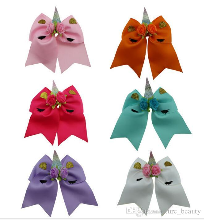 """7"""" Large Size Fashion Unicorn Cheer bows Elastic rubber band for school girls High Quality Hair Bows Cheerleading bows /"""