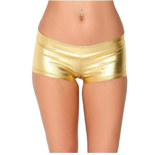 Womens Low Waisted Sexy Lycra Metallic Rave Booty Dance Shorts Spandex Shiny Pole Dance Gold Silver Shorts For Stage