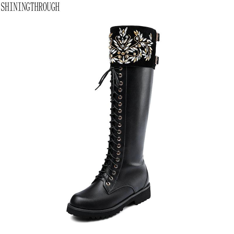 5c08fb55880a Women Real Genuine Leather Square Low Heel Over Knee Boots Fashion Long Boot  Winter Botas Warm Footwear Shoes Size 32 43 Leather Boots For Women Sporto  ...