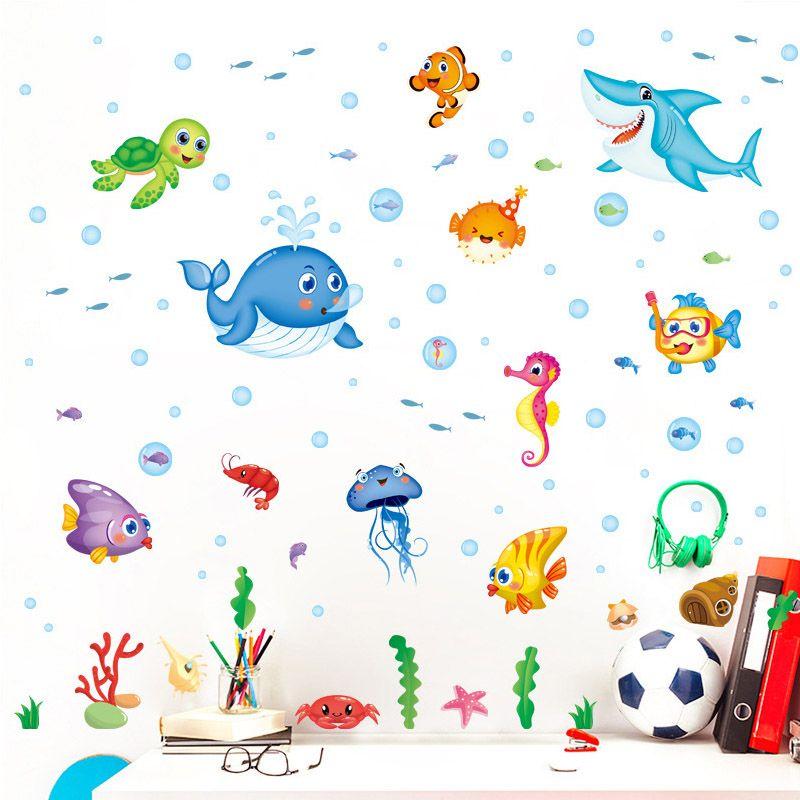 Cartoon Children s Bedroom Decoration Removable Wall Sticker Underwater Sea  Animals Background Decor Animal Decals Poster