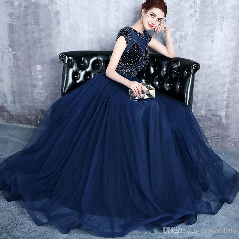 2018 Chic Navy Blue Plus Size Evening Dresses Long A Line Beaded