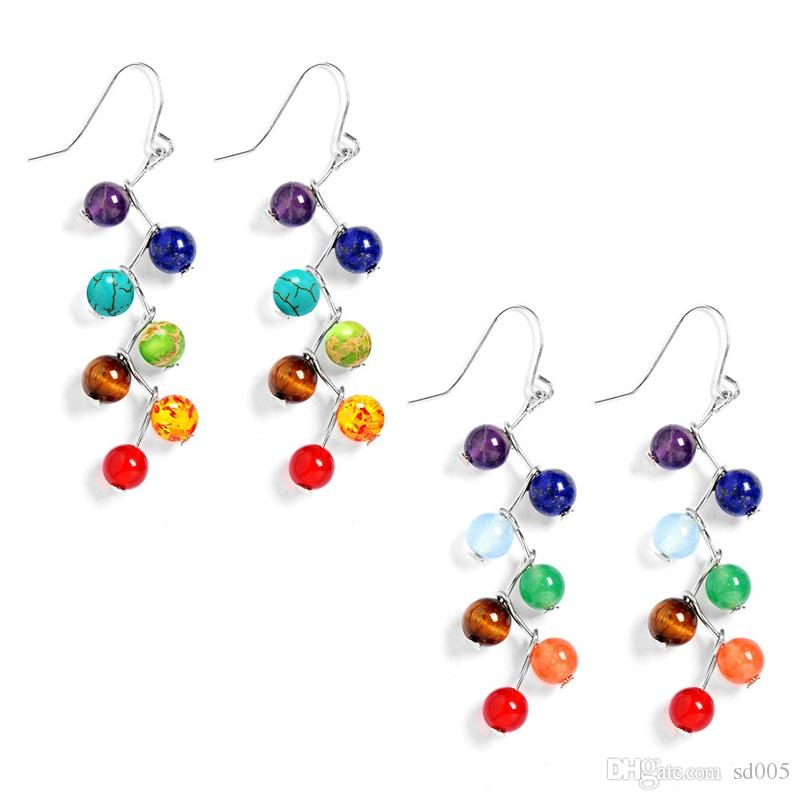 1pair Seven Colors Chakra Beads Earrings Fashion Unique Design Dangler For Women Gifts Creative Healthy Ear Pendants 4 2cm Z