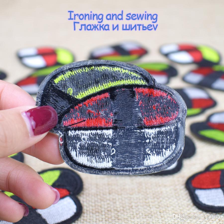 Diy Stripe Embroidery Delicious Sushi Clothes Patches for Cheap Hot Melt Adhesive Costume Patch for Apparel Sewing Patches Accessories