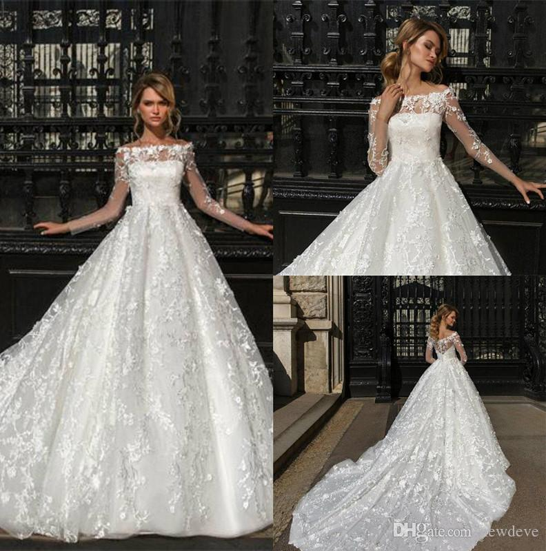 1d9a92821 Discount Crystal Design Charming Wedding Dresses With Sleeves Lace Applique  Bateau Neck Sweep Train Wedding Dress Bridal Gowns For Fat Women Short A  Line ...