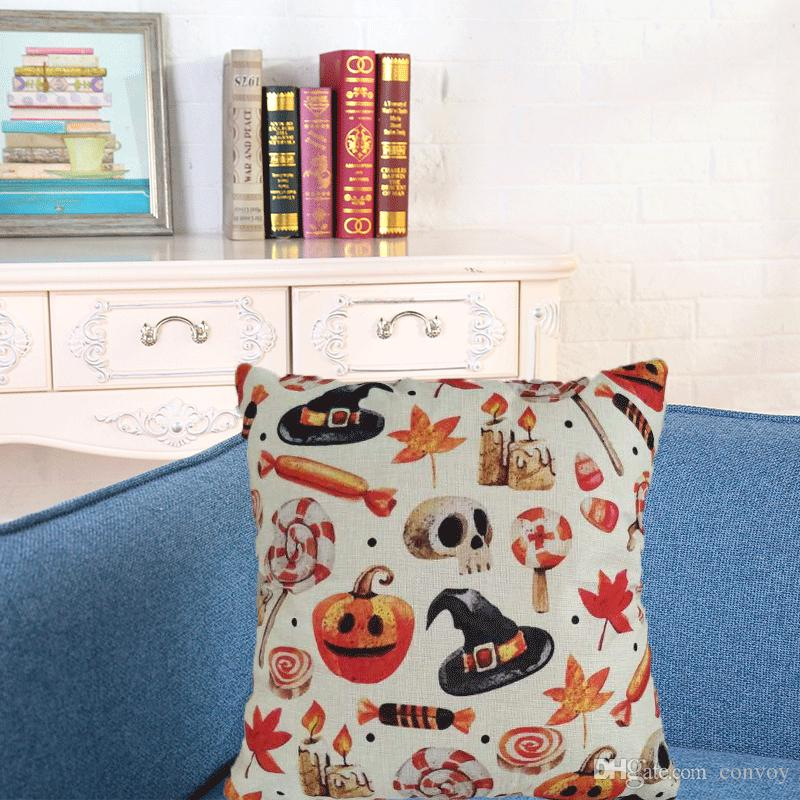 Pumpkin Halloween Linen Cushion Cover Night Bat Sofa Decoration Decorative Home Decor Pillowcase Ornament Gift Pillow Case HPC35
