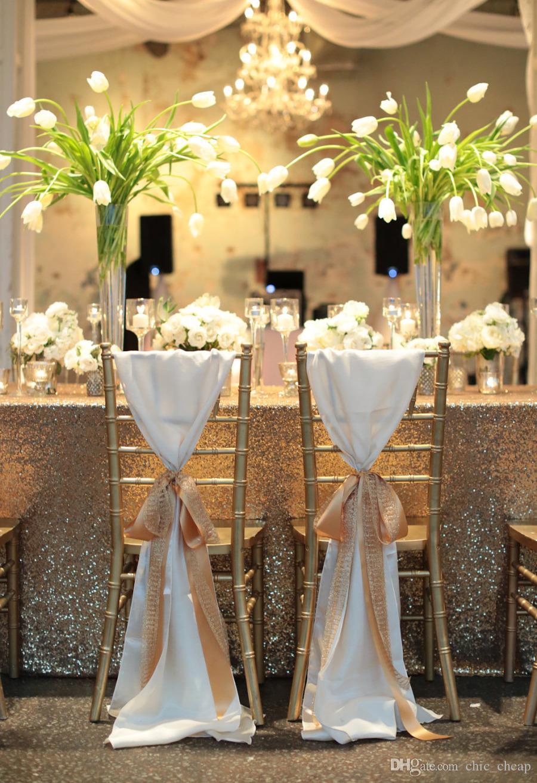 2018 New Arrival Wedding Decorations Vinatge Wedding Chair Covers Bridal Chair Sash Chiffon Gold Ribbon Simple Wedding Supplies
