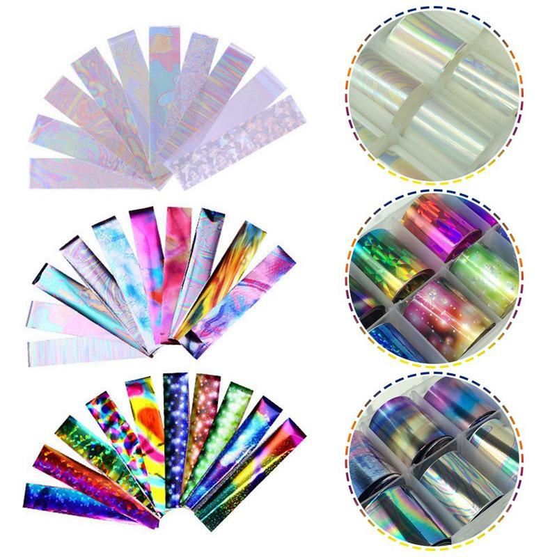 1 Box Holographic Nail Foil Set 12.8*6CM Laser Starry Nail Sticker ...