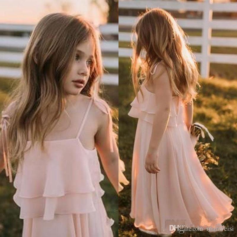80f4a722805 Cheap Bohemia Blush Pink Flower Girls Dresses For Weddings Spaghetti Neck  Ruffles Little Girls Dress Special Occasion Beach Communion Dress