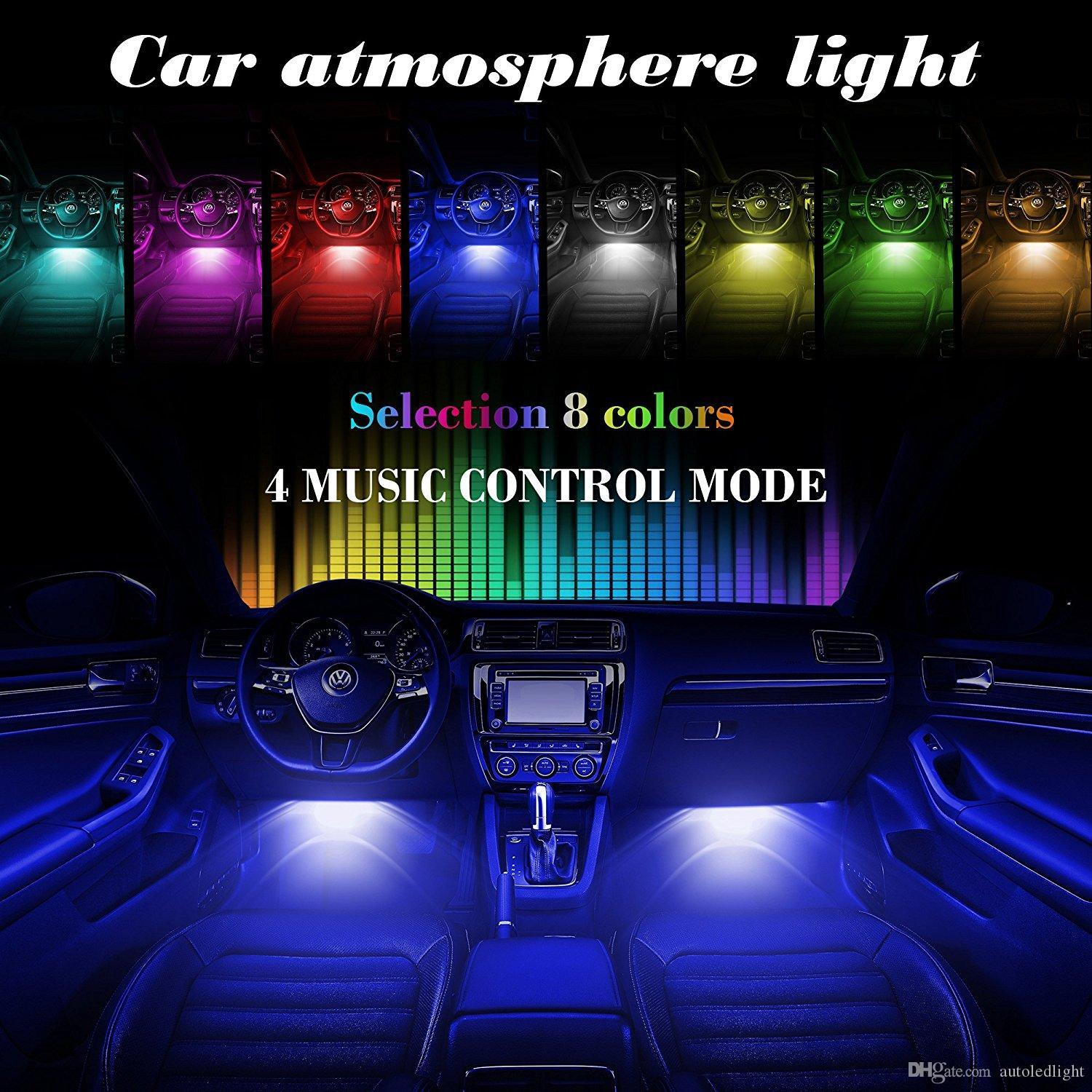 LED Car Interior Under Car Strip Lighting Kit Sound Activated Control Atmosphere Lamp Strip Glow Neon Wireless control Multi-Color Lights